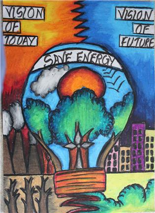 Topic energy conservation the vision of future for Save energy painting